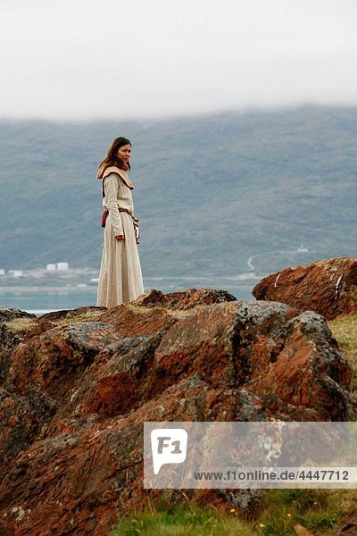 Women with traditional clothes at Eriks the red first settelment Brattahlid  known today as Qassiarsuk  South Greenland