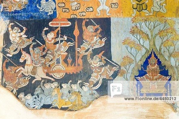 murals  Wat Bo  Siem Reap  Cambodia