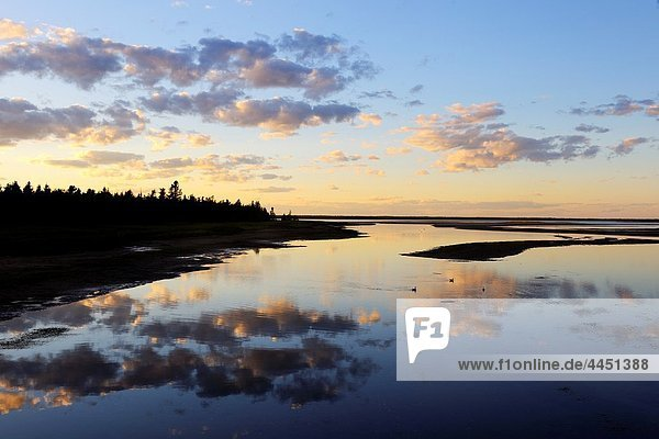 The lagoon at sunset behind the Barrier Island system  Kellys Beach Kouchibouguac National Park  New Brunswick  Canada