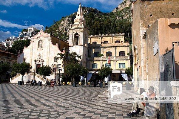 Piazza IX Aprile old town Taormina Sicily Italy Europe