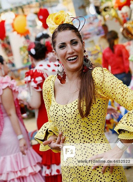 Portrait of a woman wearing traditional flamenco dress during the April Fair  Seville  Spain.