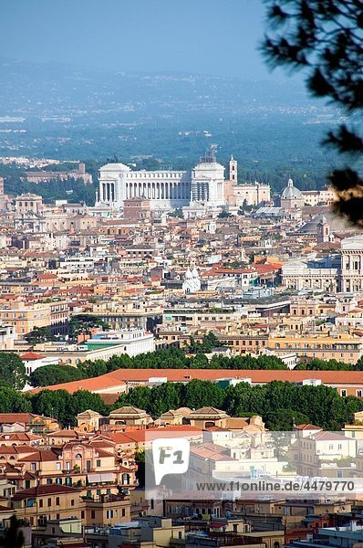 Scenic overview of Rome  Italy with the Vittoriano monument in distance