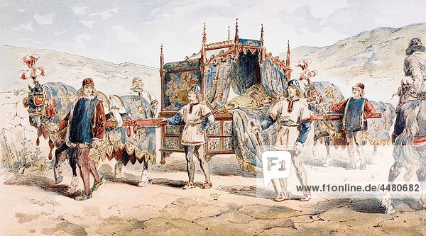 15th century noble woman´s horse drawn litter After a watercolour by A Heins From Cortege Historique des Moyens de Transport Published Brussels  1886