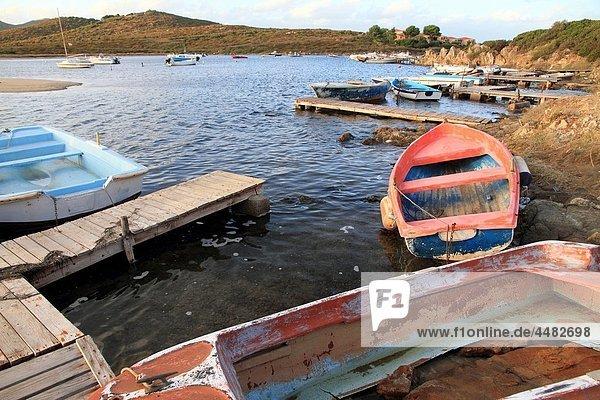 Olbia province  Fishing boats  Pittugongo beach  Sardinia island  Italy