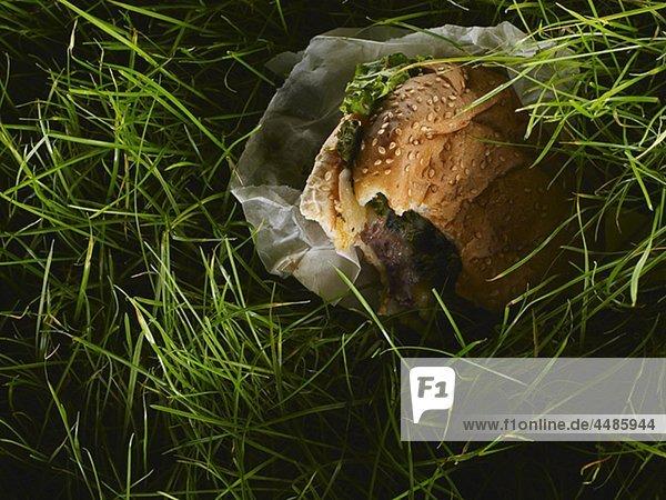 Close-up eines Hamburgers im Gras
