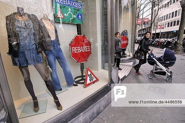 Sales signs in clothing store  Barcelona  Catalonia  Spain