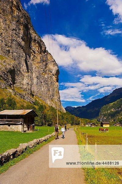 Walking path  Lauterbrunnen Valley  Canton Bern  Switzerland