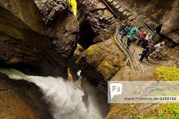 Trummelbach Waterfalls in the Lauterbrunnen Valley  Canton Bern  Switzerland