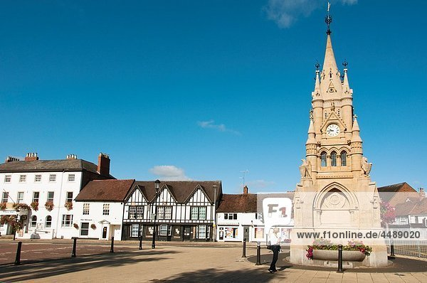 Rother Market square and Clock Tower Stratford upon Avon UK