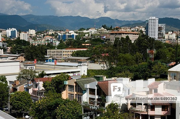 Honduras. Central District. Tegucigalpa. Overview of the Multimall and the neighborhood of Florencia and the Payaqui.