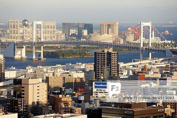 Rainbow bridge  Odaiba  City view from Tokyo Tower  Tokyo  Japan.