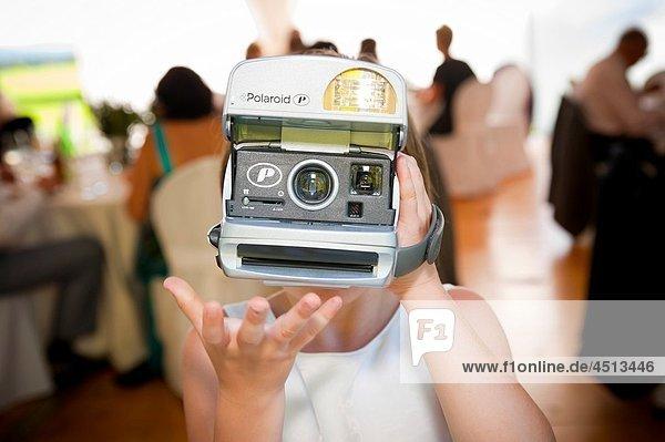 Taking a Polaroid picture