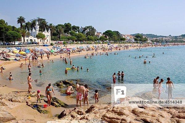 S´Agaró Sant Pol beach In background modernist house Costa Brava Girona province Catalonia Spain