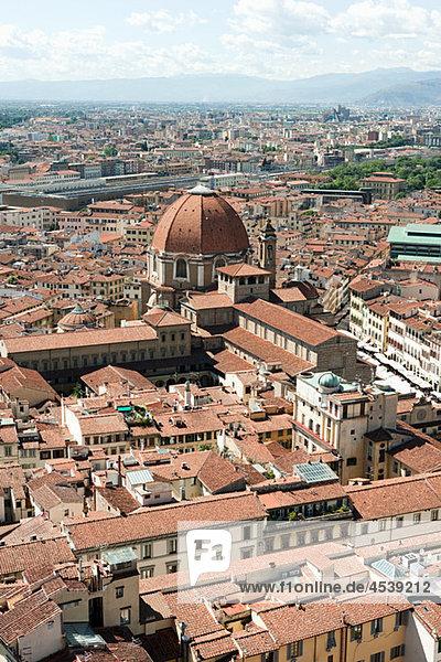 Luftbild der Altstadt  Florenz  Italien