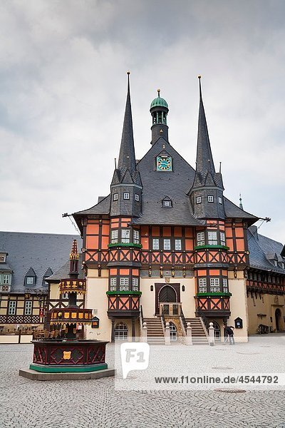The historic town hall and the market square in Wernigerode  Harz  Germany  Europe The historic town hall and the market square in Wernigerode, Harz, Germany, Europe