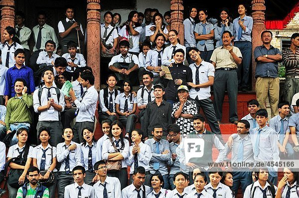 There were full of students on the day of Peace meeting in Durbar square School children on the Maju Dewal Temple