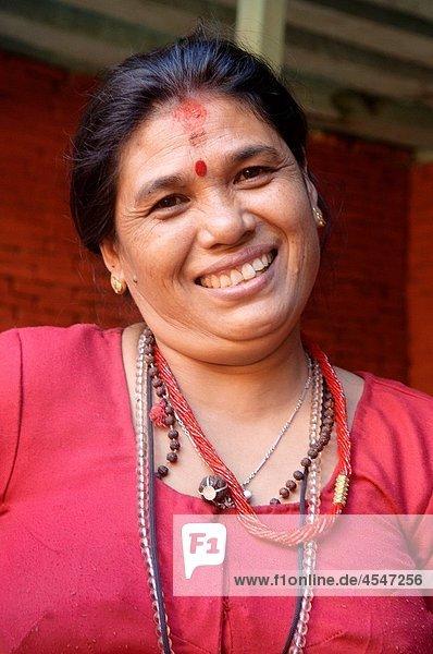 smiling woman in Kathmandu  Nepal