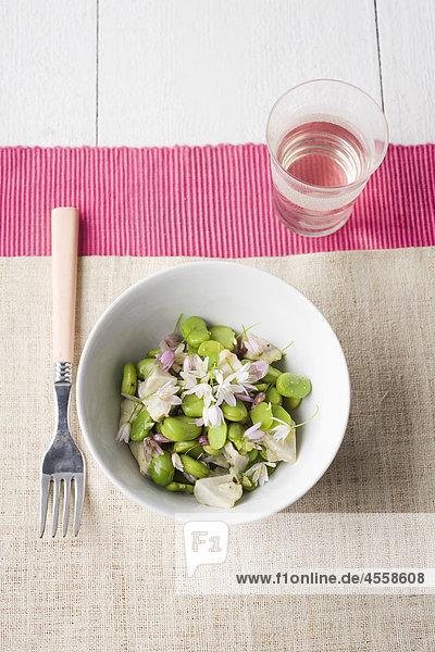 Puffbohnen und Artischocken Salat  / Mit Englischsprachigem Rezept