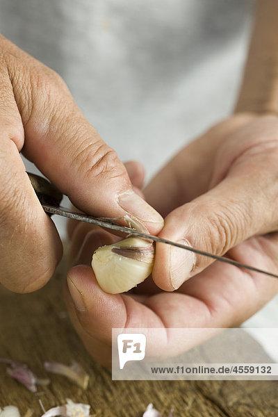 Peeling frischem Knoblauch