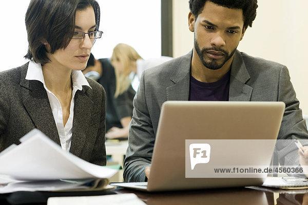Führungskräfte  die gemeinsam am Laptop arbeiten