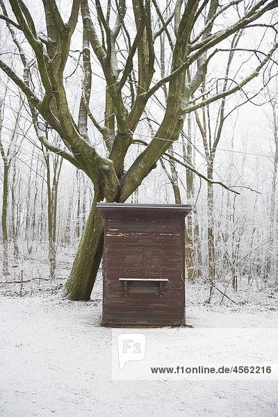 geschlossene Kiosk im Winterwald