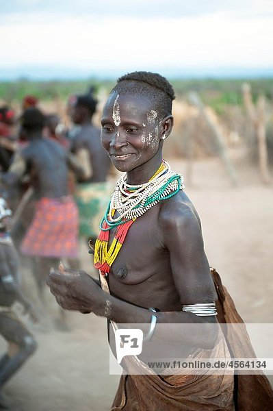 Karo woman participating in a tribal dance ceremony  Omo river Valley  Southern Ethiopia