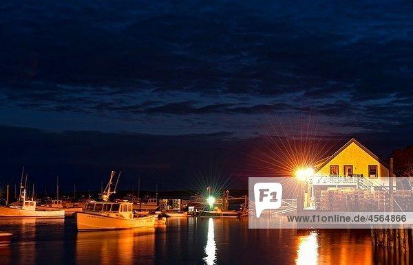 Bass Harbor at night  Bernard  Maine  ME  USA