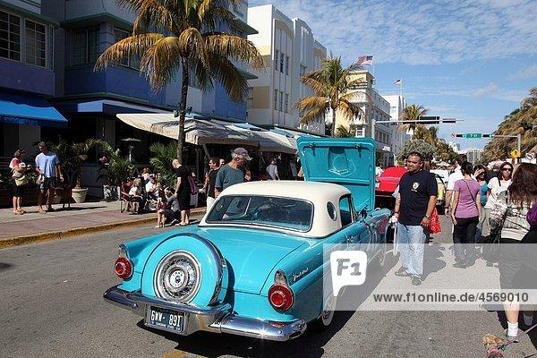 Old car at the Festival in Ocean Dr  Miami Beach  Florida  USA