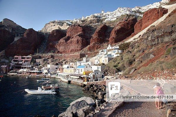 Port of Oia Santorini Cyclades Islands Greece