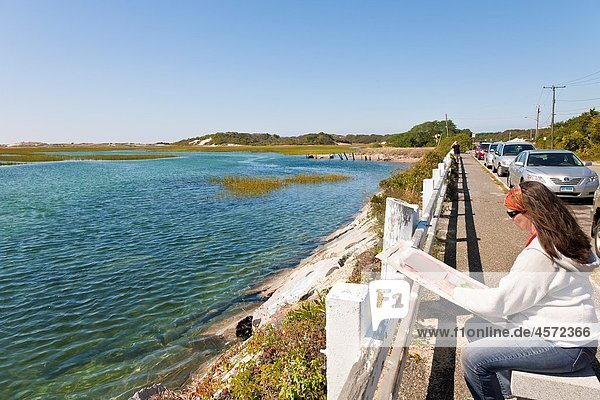 Woman sitting along Province Lands Road parking area painting coastal scenery in Provincetown  Massachusetts