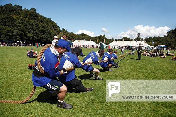 Highlands games in Oban Tug of war County of Argyll West Scotland.