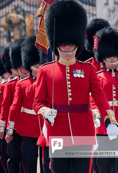 Coldstream guards at the gates of Buckingham palace  London