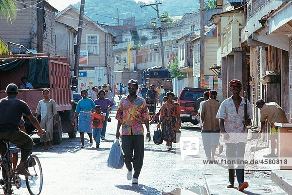 People on the street in Port Antonio  Jamaica