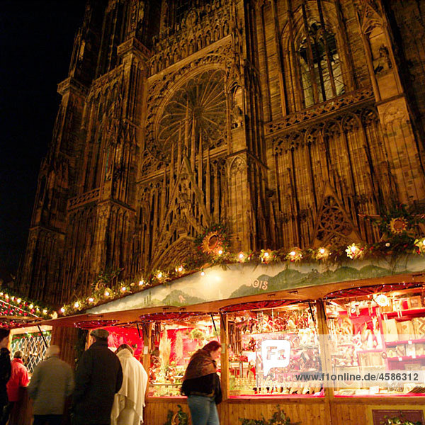 Christmas market in front of the cathedral. Strasbourg  Alsace. France