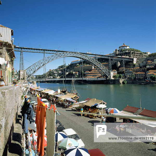 Skyline with Ponte Rodoviara Dom Luis I  bridge built in 1886 and ¥Douro¥ river. Porto. Portugal.