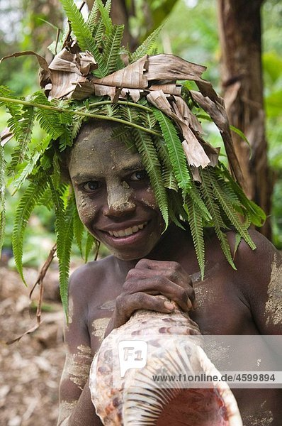 Vanuatu. Tanna Island. Fetukai. Black Magic and Kava Test Tour Villagers in Native Dress