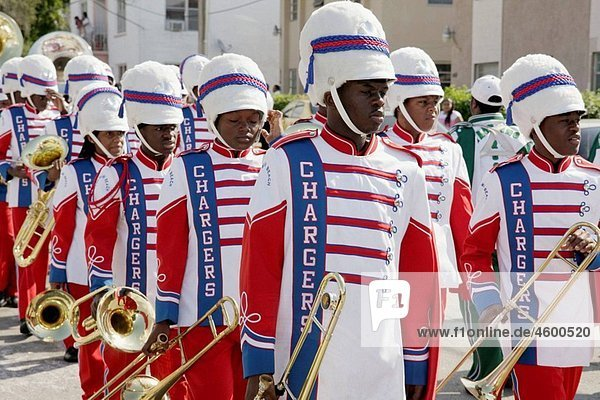 Florida  Miami  ¥Little Havana¥  Calle Ocho  Tres Reyes Magos  Three Kings Day  Magi  Hispanic  religious celebration  parade  musician  brass instrument  marching band  high school student  Black  teen  uniform