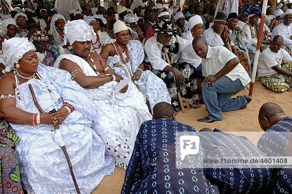 Kings and royal families. International festival dedicated to the art and culture of Vodun (voodoo). Town of Ouidah. Benin. Western Africa