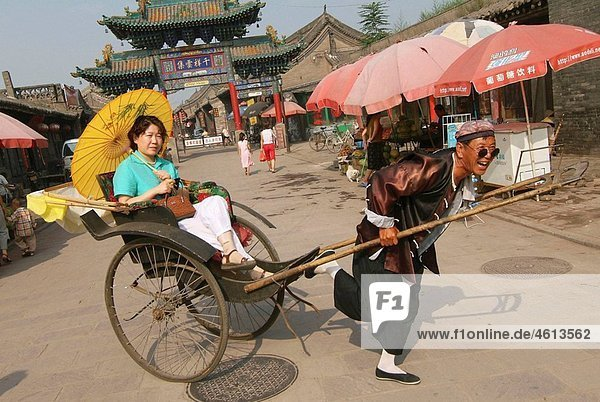 Chinese tourists visiting the town  Pingyao  Shanxi province  China