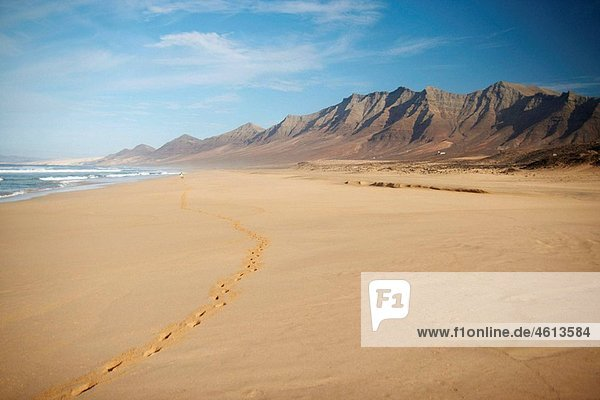 Lone woman walking on Cofete beach on Fuerteventura in the Canary islands  Spain