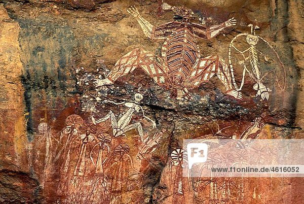 Aboriginal rock art site  Kakadu National Park  Northern Territory  Australia
