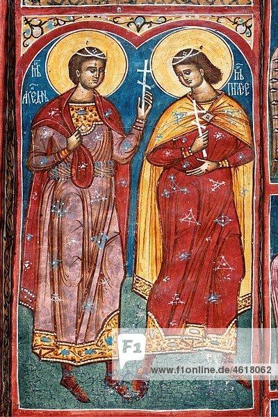 Romania Moldavia Region Southern Bucovina Moldovitsa Monastery Frescos wall paintings biblical scenes