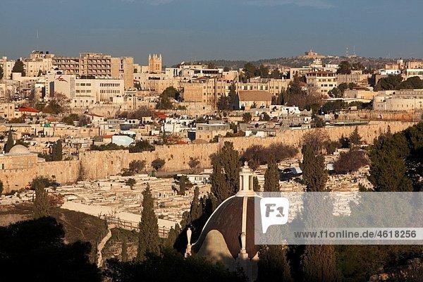 Israel Jerusalem Eastern Wall of the Temple Mount Dominus Flevit church