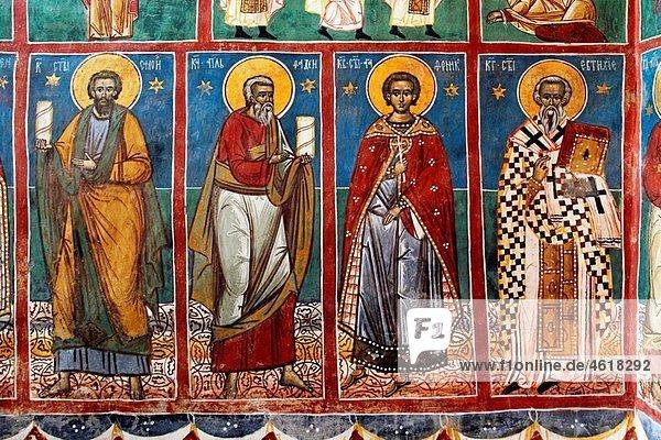 Romania Moldavia Region Southern Bucovina Voronets Monastery Church of St George Frescos wall paintings interior biblical scenes