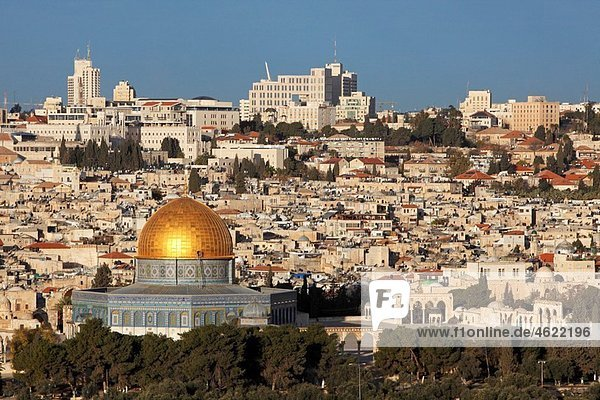 Israel Jerusalem Eastern Wall of the Temple Mount Dome of the Rock Old city from Mt of Olives