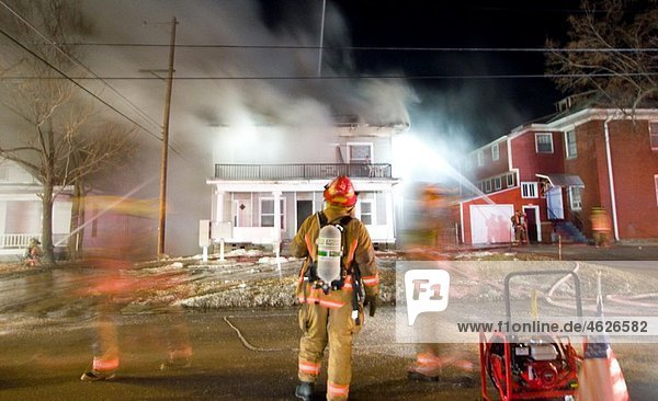A firefighter at a fire in Lincoln  Nebraska  2/6/2007