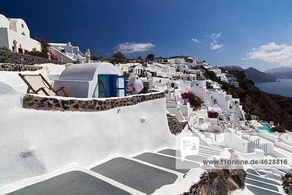 Greece  Cyclades  Thira  Santorini  Oia  View of stairs and the typical cycladic architecture