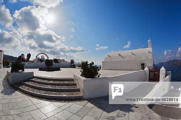 Europe  Greece  Aegean Sea  Cyclades  Thira  Santorini  Oia  View of white church