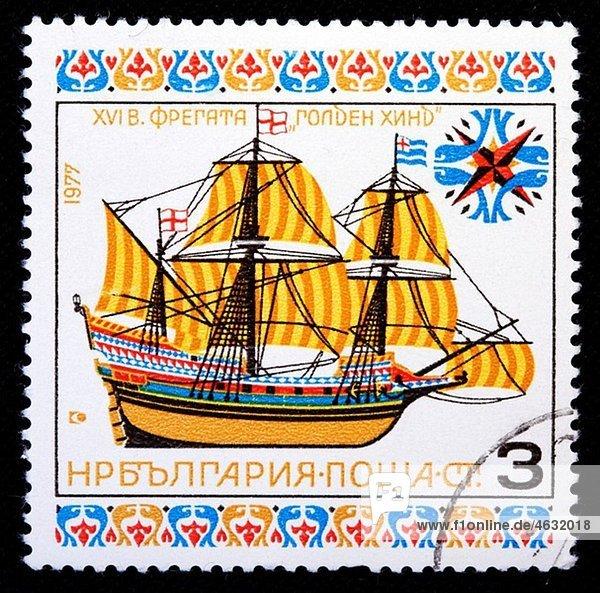 Kapitän Bulgarien Erpel englisch Galeone Briefmarke