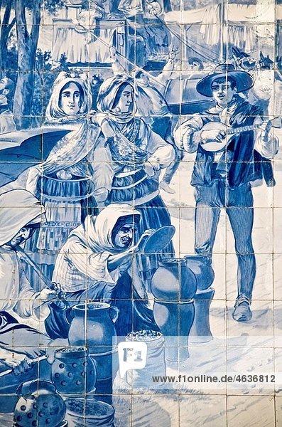 Sao Bento railway station azulejos earthenware tiles Porto Sao Bento railway station azulejos earthenware tiles Porto